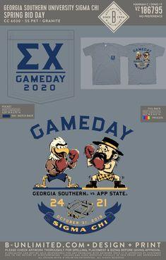 Sigma Chi Gameday Shirt | Fraternity Event | Greek Event #sigmachi #machi Pi Shirt, Georgia Southern University, App State, Sigma Chi, Game Day Shirts, Greek Clothing, Bid Day, Fraternity, Shirt Ideas