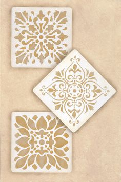 Decorate and paint a faux tile design or random wall art motifs with our Renaissance Tile Stencils Set A. These traditional European tile patterns coordinate with our Renaissance Tile Stencils Stencil