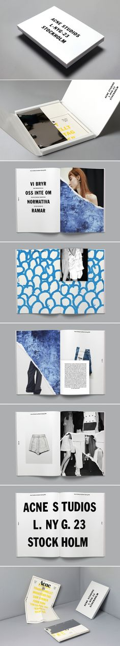 The Acne Studios Promotional Book by Therese Ottem (Suède + Etats-Unis) uses colour beautifully to create visual balance throughout each spread. The contrast between the bold lettering and large amounts of white space help to establish the brand identity as being minimal while retaining a bold, youthful and sports luxe aesthetic. The pop of blue helps to set the images off while diagonals are used throughout the spread to create an off-beat visual rhythm, helping to lead the eye page to…