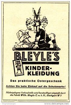Original-Werbung/ Anzeige 1926 - BLEYLE'S KINDERKLEIDUNG /MOTIV OSTERHASE / STUTTGART - ca. 65 x 110 mm