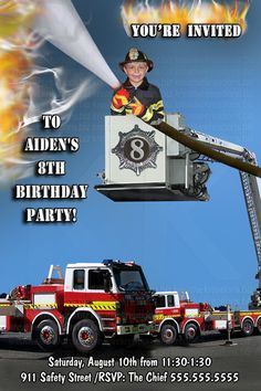 FIREMAN FIRETRUCK your birthday boy in the by kreativekreations, $27.00