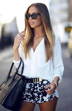 Very Cute Fall Outfit. This Would Look Good Paired With Any Shoes. 47 Unique Street Style Looks To Look Cool – Very Cute Fall Outfit. This Would Look Good Paired With Any Shoes. Mode Outfits, Short Outfits, Summer Outfits, Casual Outfits, Summer Shorts, Fall Outfits, Summer Clothes, Casual Shirts, Beach Outfits
