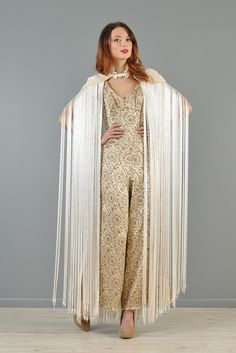 1960s Metallic Brocade Jumpsuit with Fringed Cape | BUSTOWN MODERN