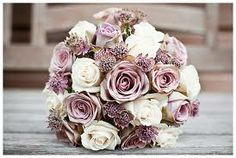 Purple Rose, Lilac, pearl, and lace bouquet