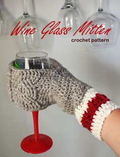 Wine Glass Beverage Mitten Crochet Mitt Pattern drink beer coffee cozy sleeve cup cabled textured women men glove Christmas gift novelty