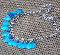 Dragon scale necklace in blue Aluminum rings and by jewelrybyirina