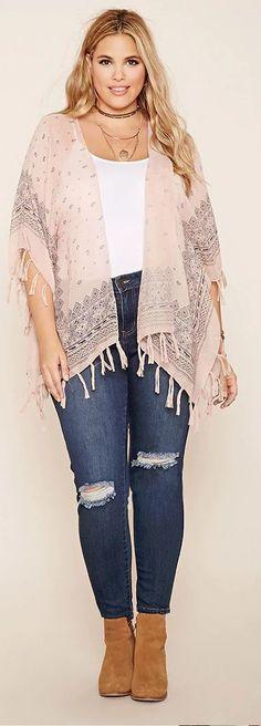 Plus Size Fringe Kimono