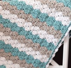 Sea Shell Stitch Crochet Baby Blanket | AllFreeCrochetAfghanPatterns.com