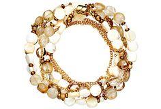 White Coral Coin Wrap Bracelet on OneKingsLane.com