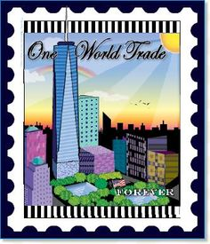 One World Trade stamp quilt pattern/panel by Zebra Quilts
