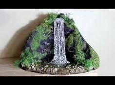 Hot glue Waterfall Tutorial ღ Diy Waterfall, Garden Waterfall, Fairy Tree Houses, Tambour Beading, Miniature Crafts, Miniature Gardens, Glue Crafts, Crafty Craft, Vortex Water