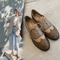 789017732e712 (eBay Advertisement) Womens Ladies Fashion Leather Multicolour Lace Up  Oxford Brogue Court Shoes IOAO