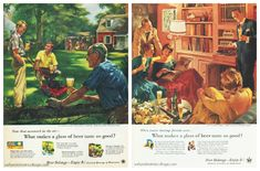"""Vintage Beer Ads Home Life in America (L) """"Showing Off the New Power Mower"""" by Fred Siebel 1955 (R) """"Hi Fi"""" by Haddon Sundblom 1956"""