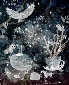 Alchemy LIMITED EDITION owl forest art print. por dansedelune