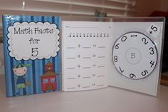 Quick math facts for addition and subtraction made out of slim DVD cases