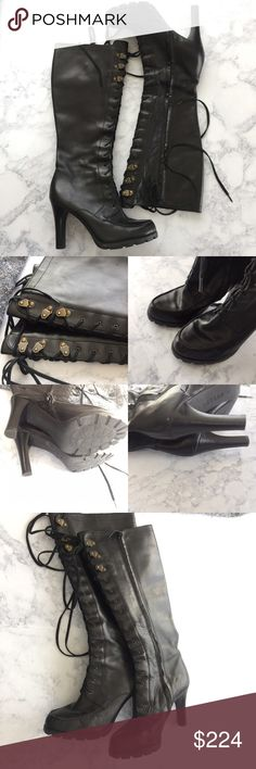 Lauren Lace up knee high boots Falling in love with this amazingly Ralph Lauren lace up boot. Knee high, lace up, boot varnished calfskin gives its signature time worn look. Interior zip closure, padded inside, leather, like new, no box  retail $395 + tax. Size 7M true to size  ✅ will bundle ✅ ✅ all reasonable offers will be considered  No Trading  Poshmark rules only‼️ Measurements taken laying flat Ⓜ️ 1/2 inch platform  Ⓜ️4 inch heel Lauren Ralph Lauren Shoes Lace Up Boots