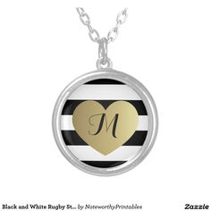 Black and White Rugby Stripes - Gold Foil Effect Round Pendant Necklace