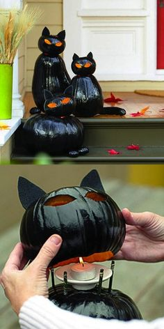 Halloween Pumpkins - Make black cat o'lanterns: clean out top pumpkin only; stuff w/ newspaper prior to spray painting; cut curved slits in top for ears to be inserted into (don't cut slits all the way through pumpkin). Fete Halloween, Holidays Halloween, Halloween Treats, Halloween Pumpkins, Happy Halloween, Homemade Halloween, Outdoor Halloween, Halloween 2015, Halloween Graveyard