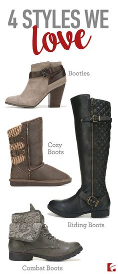 When it comes to boots, we know all the hottest styles. From stacked heel booties to tall riding boots, let us keep you (and your feet) looking great!