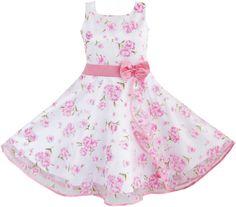 Sunny Fashion 3 Layers Girls Dress Pink Flower Wave Pageant Wedding 4-12 #SunnyFashion