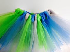 Seahawks Tulle Tutu Baby Newborn 0-3 Months Bright Green Blue Grey by YoungSparkleandShine on Etsy