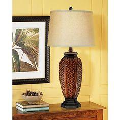 Faux Wicker Jar Table Lamp