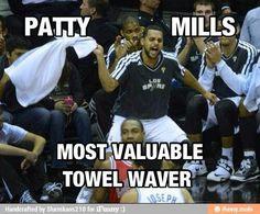@Irene Naylor @Patty_Mills Most Valuable Towel Waver ♥ #GoSpursGo
