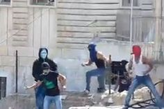 Arabs throwing rocks and firecrackers at Jewish children in Maaleh HaZeitim, near the Mount of Olives on Sept. 30, 2014.  Fighting kindergarteners??????