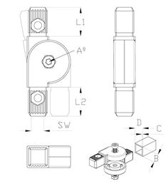 conectores - Conector 2 tubos articulado para tubos cuadrados