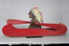 Indian in Canoe Whirligig Folk Art
