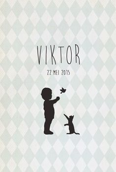 Geboortekaartje Viktor - voorkant - Pimpelpluis - https://www.facebook.com/pages/Pimpelpluis/188675421305550?ref=hl (# vintage - jongen - lief - poes - kat - silhouet - vogel - ruitjes - tekst - layout - origineel)
