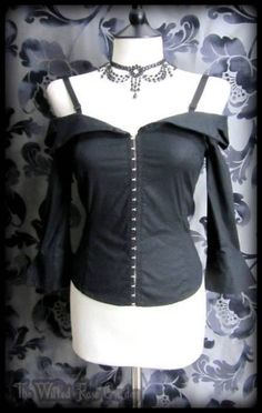 Gorgeous Goth Black Off the Shoulder Corset Style Wench Top 8 10 Vampire Gothic   THE WILTED ROSE GARDEN on eBay // Worldwide Shipping Available