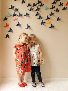 Those origami birds on the wall are awesome.   Tsuru Geranium Dresses by madebyrae, via Flickr