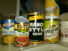 5 Can Soup-I think Weight Watchers used to say one serving of this soup was just one point. Um but it's one can of creamed corn, one can of Rotel, one can of Veg-al, one can of broth and one can of Ranch style beans!!! Yummy and spicy!!!