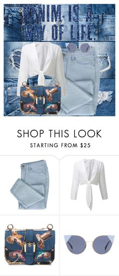 """Denim On Denim"" by fantacyangel ❤ liked on Polyvore featuring RED Valentino, Fendi and denim"