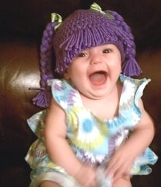 Cabbage Patch crocheted hat complete with hair/wig and braids.