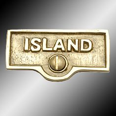 Switch Plate Tags Lacquered Brass ISLAND Switch Tag 1 11/16'' W - Switch Plate Tags Lacquered Brass ISLAND Switch Tag 1 11/16'' W