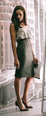 high waist pencil skirt + stiletto