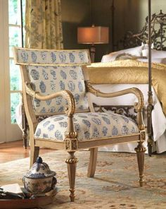 Handsome upholstered antique Arm Chair.