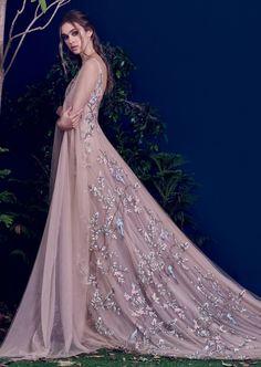 Beautiful nude flower dress by Hamda Al Fahim