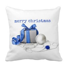 Blue And Silver Festive Art Cushion Throw Pillows Christmas Fun, Holiday, Festivus, Blue Gift, Yule, Blue And Silver, Cushions, Throw Pillows, Creative