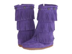 Minnetonka Kids 3-Layer Fringe Boot (Toddler/Little Kid/Big Kid) Hot Pink Suede - Zappos.com Free Shipping BOTH Ways