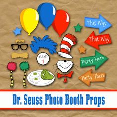 Dr Seuss Inspired Printable Photo Booth Props - Party printables, read across america idea, back to school party idea, green eggs and ham, cat in the hat, the lorax