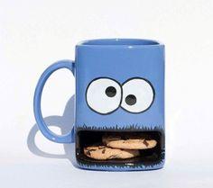 24 Modern Mugs and Creative Mug Designs Cookie In A Mug, Modern Mugs, Cool Mugs, Mug Designs, Cute Kids, Cookie Monster, Monster Cup, Etsy Shop, Cookies
