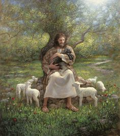 The Shepherd....what I love about this image is Jesus comforting the one that doesn't fit in with the rest. He loves us all, but some need a little extra TLC. :)