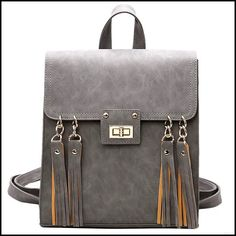 Retro Frosted Tassels Flap Multifunction Shoulder Bag Fashion Square PU Street Style Backpack #bag #Backpack #square #retro Lace Backpack, Retro Backpack, Vintage Leather Backpack, Backpack Bags, Leather Bags, Leather Backpacks, Leather Briefcase, Fashion Bags, Fashion Backpack