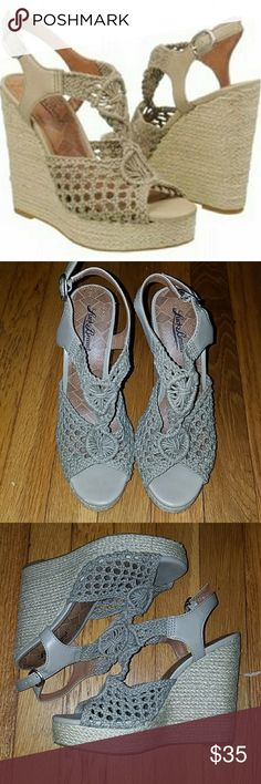 "Lucky Brand Rilo Crochet Wedges These adorable boho heels are in excellent used condition and are extremely versatile. Features woven detail at front, buckle ankle strap and braided hemp-covered cork sole. Heel 5"", platform 1"". Worn only 2-3 times. Color: ""chinchilla"" (a tan/taupe hue) Lucky Brand Shoes Wedges"