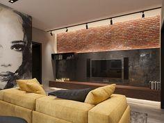 loft interior 2 on Behance Painel TV Apartment Interior, Apartment Design, Interior Design Living Room, Living Room Designs, Loft Interior Design, Loft Design, Luxury Homes Interior, Interior Sketch, Budget Home Decorating