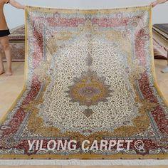 Yilong 6'x9' Handmade Persian Silk Floor Rugs Hand Knotted Oriental Carpet 0286