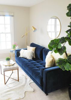 Sven Cascadia Blue Sofa Our new home has a large open area at the top of the stairs which will be an upstairs hangout for our kids, so the bright blue has the perfect fun vibe for that space. Photo by Eleven Magnolia Lane. Blue Couch Living Room, Room Design, Living Room Sofa, Blue Sofas Living Room, Living Room Diy, Apartment Decor, Couches Living Room, Interior Design, Living Room Designs